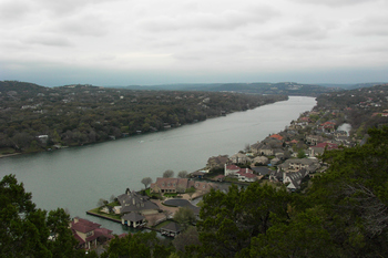 a view of Lake Austin as seen from atop Mount Bonnell